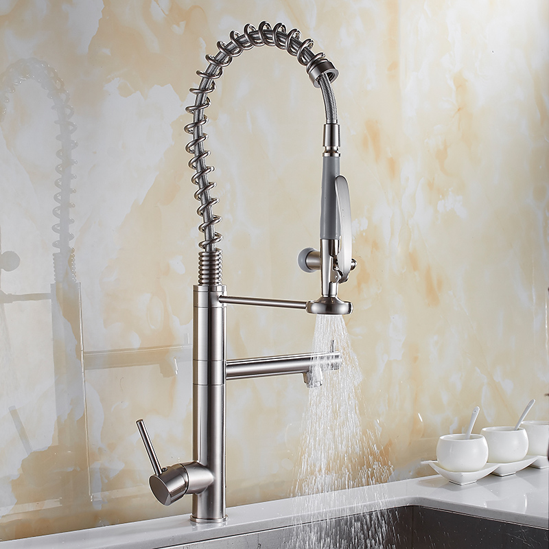 Kitchen Faucet Brushed Nickel Kitchen Faucet Brass Water Tap Kitchen Sink Mixer Tap Hot Cold Pull Down Out Spring Spout Faucet