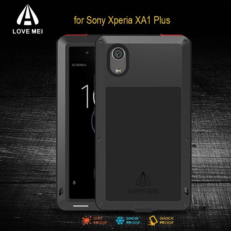 XA1 plus LOVE MEI Aluminum Metal Shockproof Case For Sony Xperia XA1 plus Cover Armor Powerful Case with Gorilla Glass Fundas