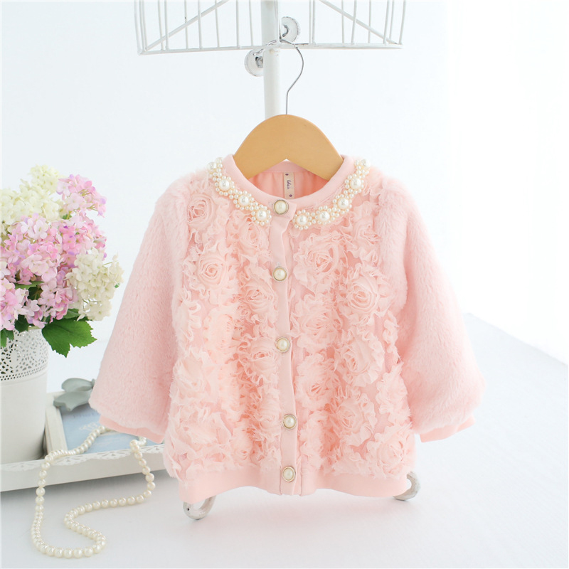 Baby Girls Faux Fur Cardigan Pink 3D Rose Front With Pearl Collar & Button Baby Girl Princess Sweater A014 Winter Warm Clothes open front faux fur embellished sleeveless cardigan