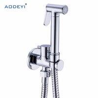 Brass Hand Held toaleta Bidet Spray Shower Head Douche Zestaw Shatta Zawór miedzi Łazienka Bidet opryskiwaczy Jet Tap & Holder i wąż