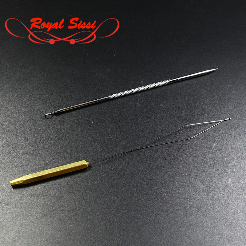 2pcs/set fly tying fishing tool threader &bodkin Assorted tools kit high carbon stainless steel bodkin needle for trimming flies