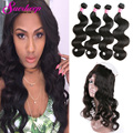 Malaysian Body Wave With Closure Human Hair 360 Lace Frontal Body Wave With Bundles Malaysian Virgin Hair With Closure Body Wave
