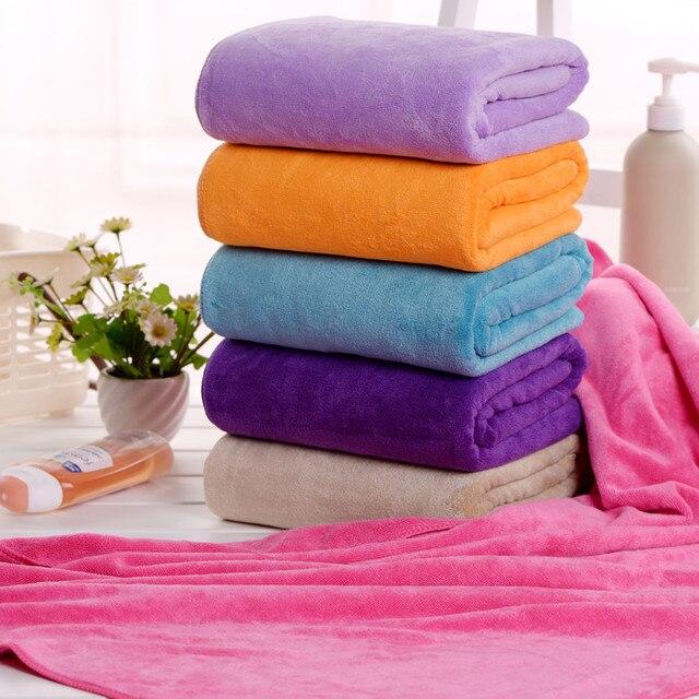 Solid Absorbent Bath Towel 70 140cm Microfiber Quick Drying Beach Towels