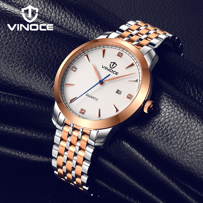 VINOCE Mens Watches Top Brand Luxury Stainless Steel Wristwatches Male Quartz Watch Relogio Feminino 2018 SK Men Clock #3287 chenxi men gold watch male stainless steel quartz golden men s wristwatches for man top brand luxury quartz watches gift clock