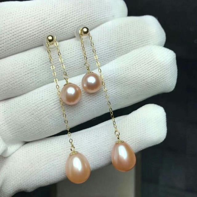 shilovem 18k yellow gold Natural freshwater pearls Drop Earrings fine Jewelry women trendy anniversary Christmas gift mym6699zz 4