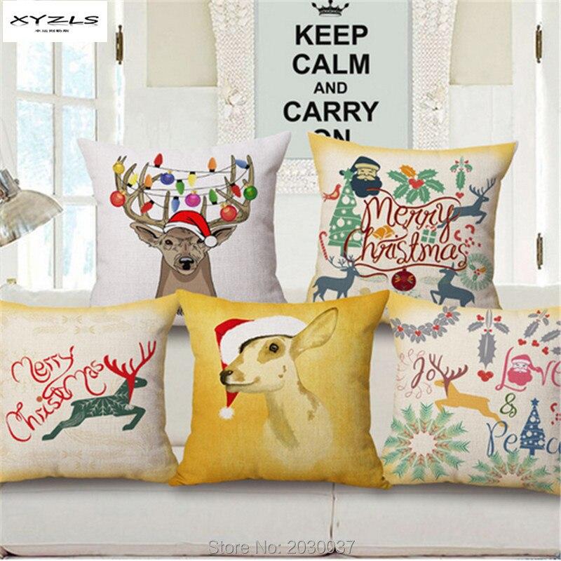 Xyzls Рождество Чехлы для подушек мультфильм олень узор квадратный Наволочки Диван Декоративные Подушки Детские Рождество almofadas cojines