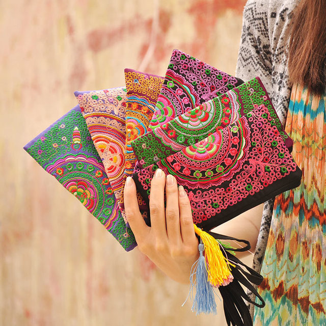 271d52f3587f Wholesale women wallet Thailand style beautiful embroidered ethnic handbag  vintage cotton bag cell phone bag Mixed colors JAS252