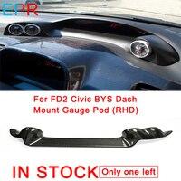 Для FD2 Civic углеродного волокна BYS черточки Gauge Pod (RHD) для Honda Глянцевая волокна приборной панели