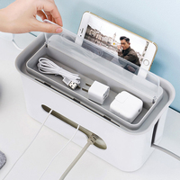 JILIDA Plastic Socket Power Line Desktop Storage Box Power Cord Cables Phone Charging Wire Earphone Safety Home Organizer Case