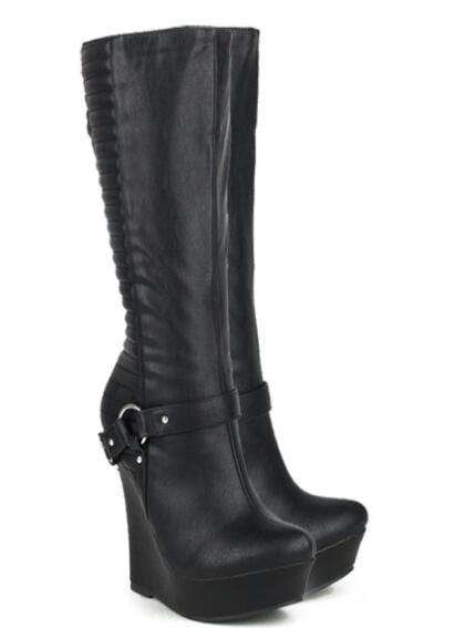 Winter black wedges heel platform half boots for woman Fashion metal chain lady short boots Motorcycle boots SIZE 34-43 winter black wedges heel platform half boots for woman fashion metal chain lady short boots motorcycle boots size 34 43