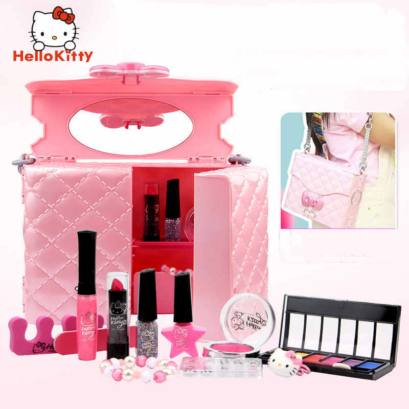5ee39dc336c1 HELLO KITTY children's cosmetics girl rincess lipstick toy beauty storage  bag lipstick nail polish makeup set kids makeup toys