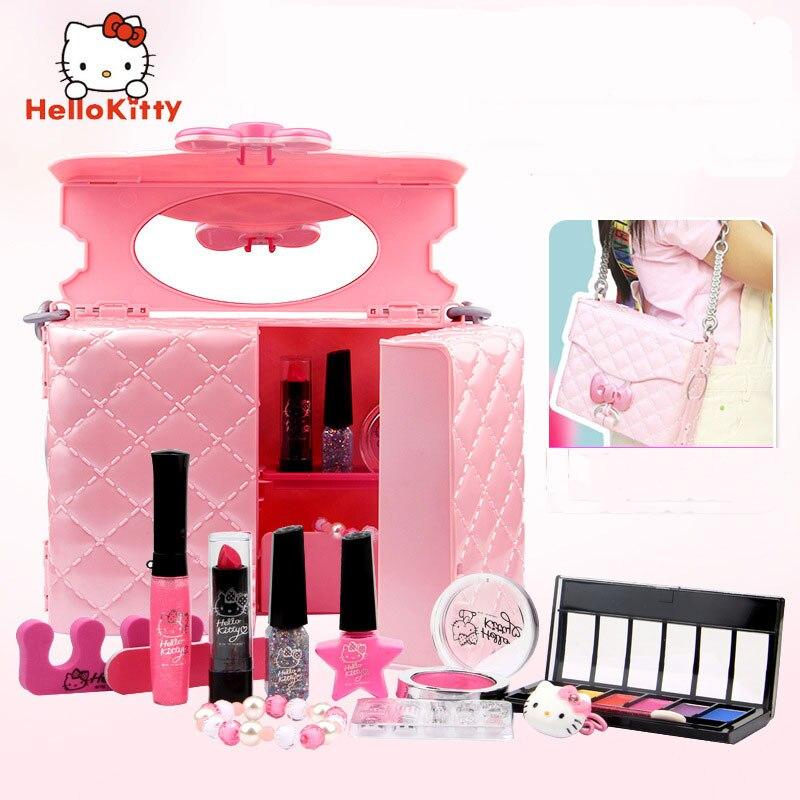 HELLO KITTY, Детская косметика, для девочек, rincess, губная помада, игрушка, сумка для хранения, губная помада, лак для ногтей, набор для макияжа, детские игрушки для макияжа