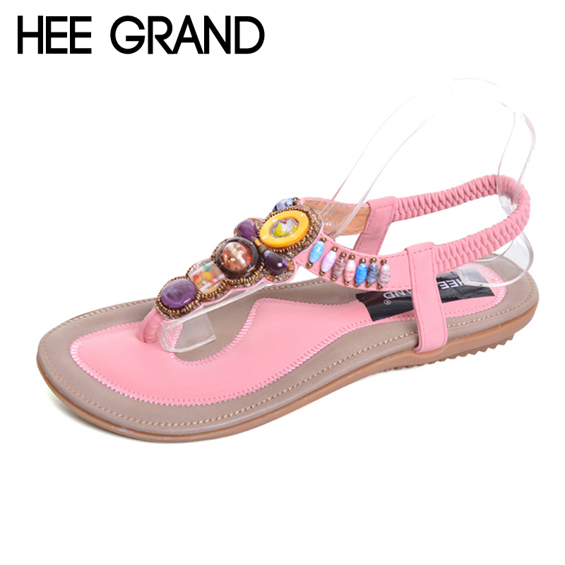 HEE GRAND Bohemia Sandals Summer Style Bling Rhinestone T-Strap Platform Sandals Beading Flats Shoes Woman Size 35-41 XWZ1733 lanshulan bling glitters slippers 2017 summer flip flops platform shoes woman creepers slip on flats casual wedges gold