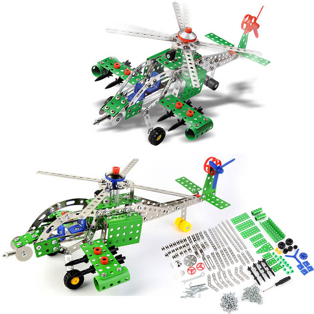DIY Construction Apache Armed Helicopter Building Metal Model Kit Military Action Metal Toy With tools 270Pcs 640x640q70