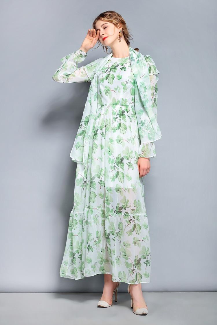 Écharpe Manches Manchettes 2019 Street Robes Imprimé Arrivée Femmes Casual Vert Nouvelle Longues De Cou Avec À O High awU5qz0