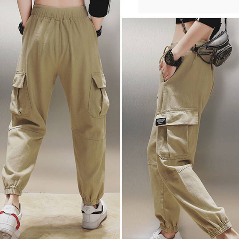 Cotton High Waist Cargo Pants 2019 Spring Pink Khaki Black Female Trousers 61