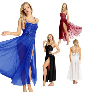 Image 5 - Kadın yetişkin bale elbise pamuk spagetti kayışı kolsuz payetli Leotard Bodysuit bale Dancear bölünmüş örgü Maxi etek