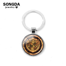 SONGDA Charm Keychain Tomorrowland Music Festival Band World Fashion Logo Glass Gem Badge Key Ring Jewelry Key Holder Chaveiro(China)