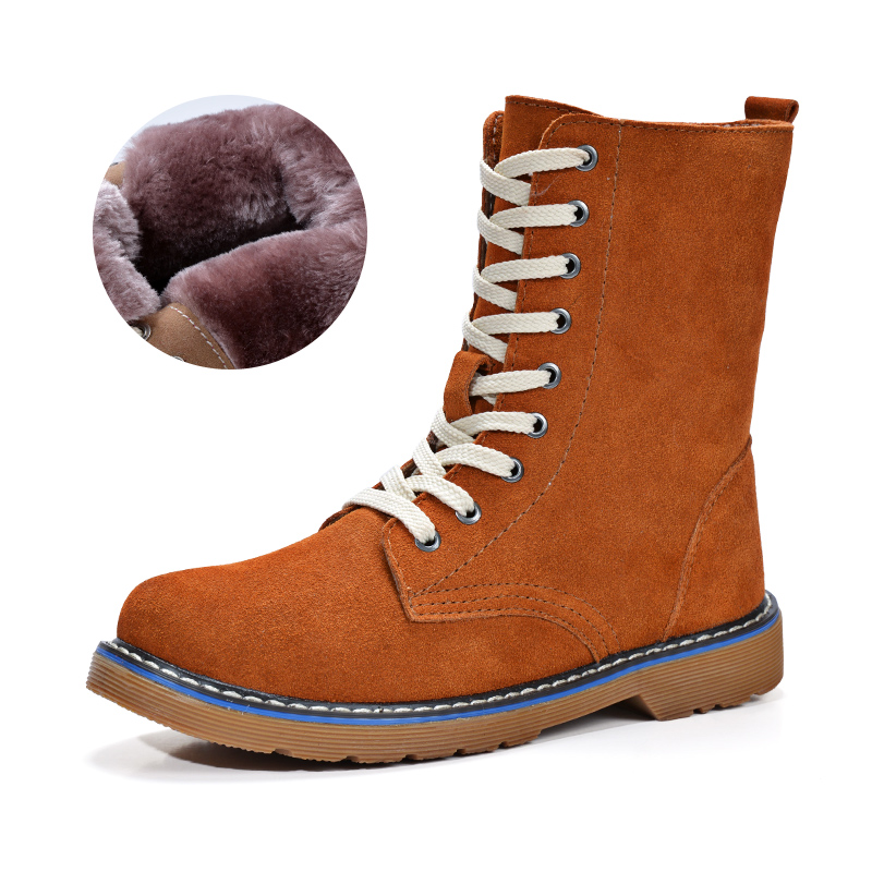 ФОТО New 2016 Fashion Genuine Leather Women Martin Boots Comfortable Warm Snow Boots Women Outdoor Casual Winter Shoes Free Shipping