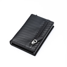 BYCOBECY 2019Carbon Fiber New RFID Wallet Antitheft Aluminum Box ID Card Holder PU Leather Pop Up Card Case Magnet Coin Purse(China)