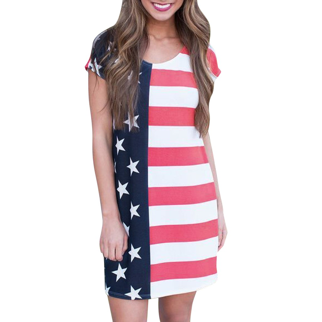 Womens Vintage Distressed American Flag Stars Stripes Polyester Casual Sundress