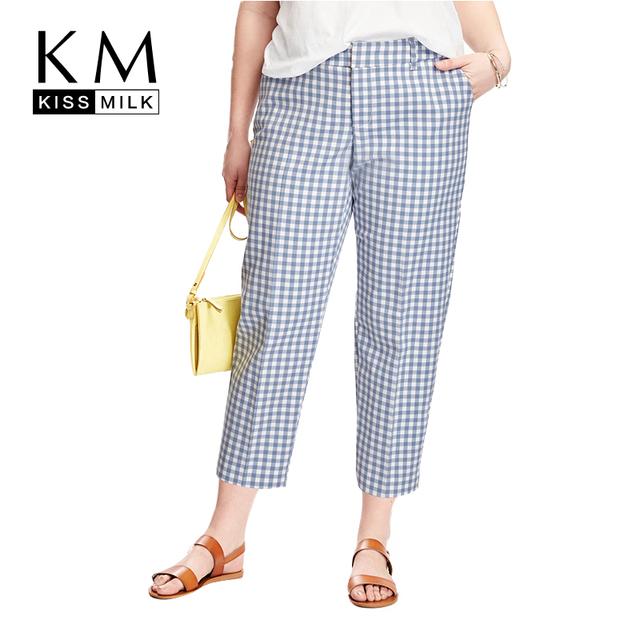 Kissmilk Plus Size Nuevas Mujeres Harem Ocasional Estilo Azul y Cheque en blanco Tamaño Grande Ocasionales Pantalones Delgados 3XL 4XL 5XL 6XL