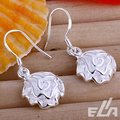 HOT Free shipping silver plated earring Dangle rose earrings Wholesale