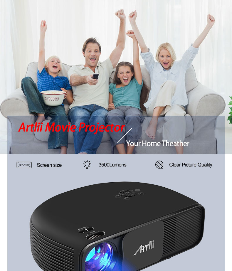 ᗚLED Home Cinema Projector 3500 Lumens Support 1080P Artlii ...