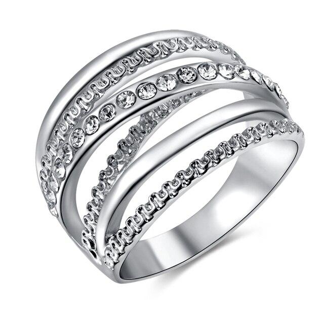 talla 40 c94f0 49bf8 € 5.91 |Lujo amplia crossover mujeres Anillos oro blanco placa de cristal  austriaco anillo de cóctel grande moda Anillos para las mujeres señora en  ...