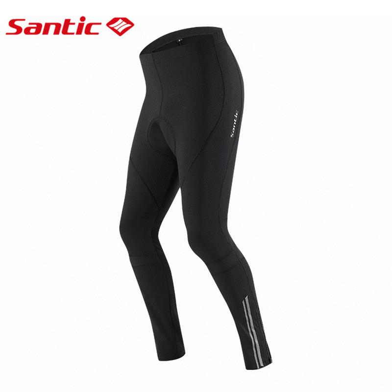 Santic Cycling Pants Men Winter Thermal Fleece MTB Road Bike Pants Padded Bicycle Pants Windproof Pantalon Ciclismo 4D Pads santic men winter cycling pants thermal fleece windproof mtb road bike pants 4d padded bicycle long pants cycling clothes