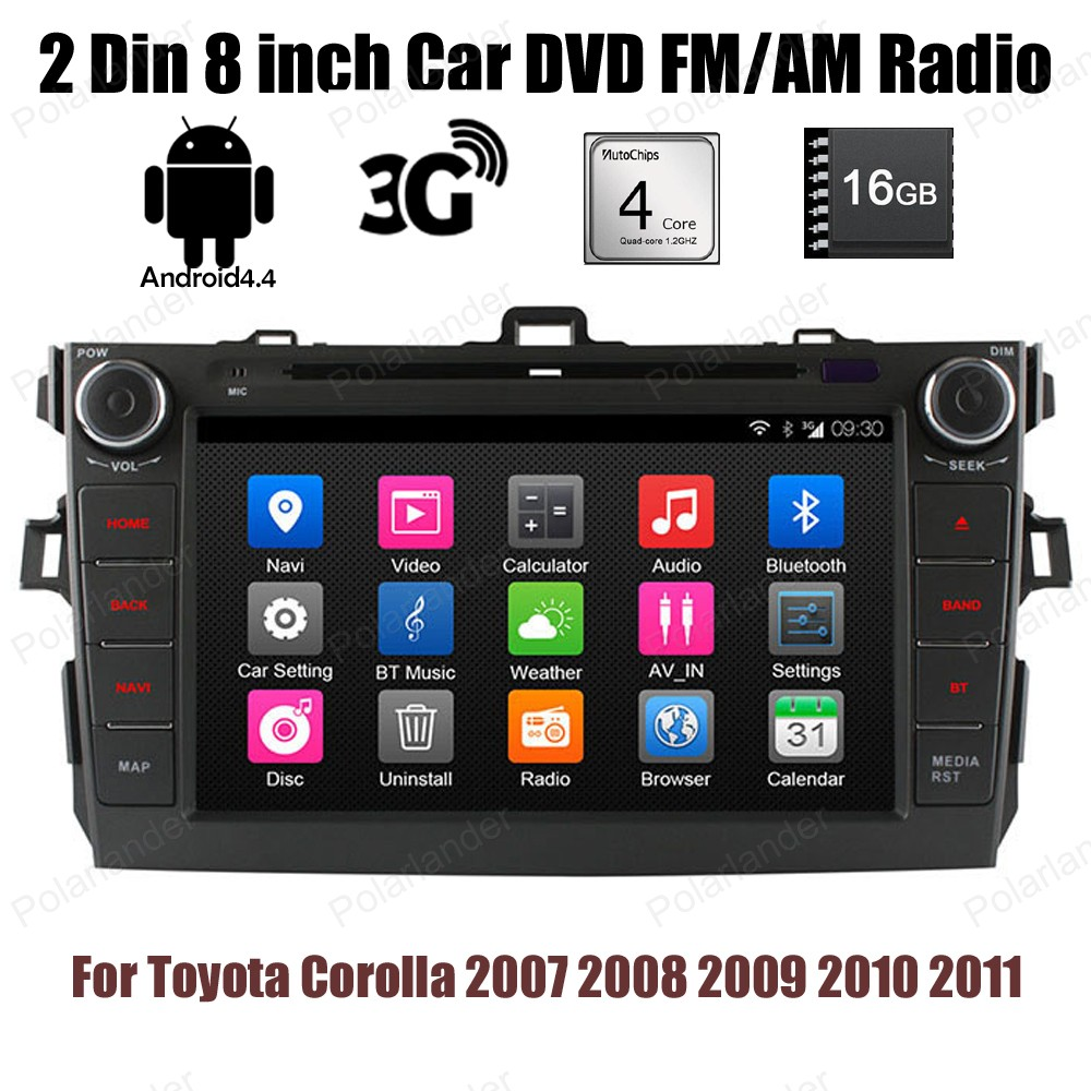 Android 4.4 4 core Car DVD player 16G ROM 2 Din 8 inch stereo BT GPS wifi radio for Toyota Corolla 2007 2008 2009 2010 2011