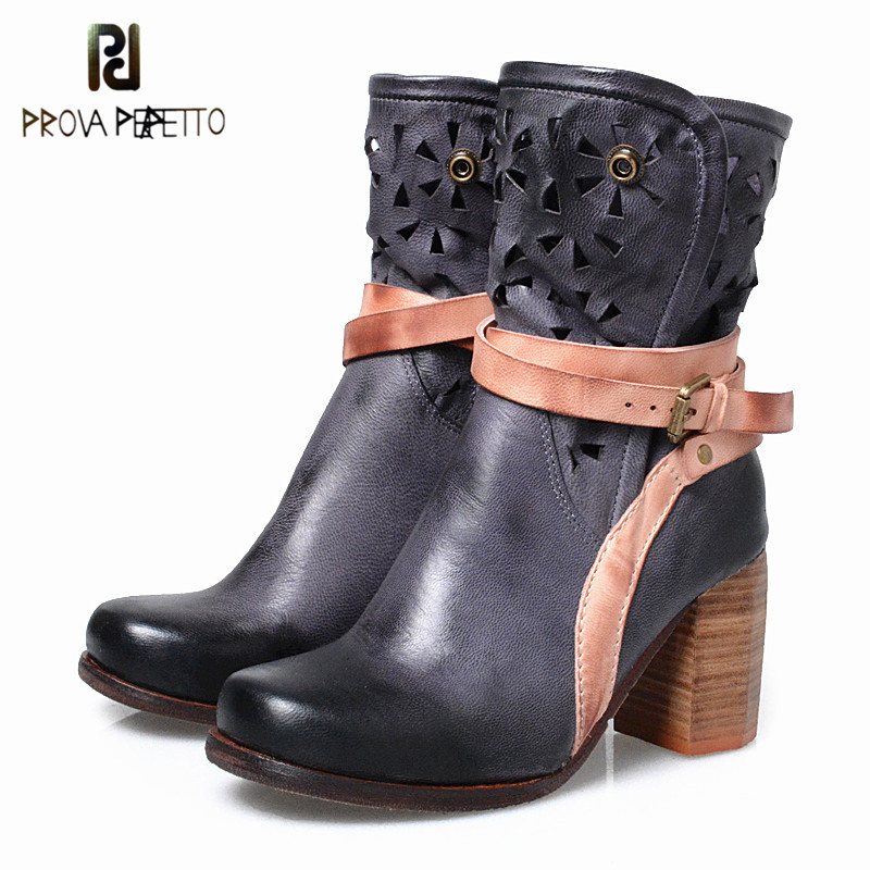 Prova Perfetto Original Brand British Style Thick Heel Western Boots High Heel Mixed Colors Hollow out