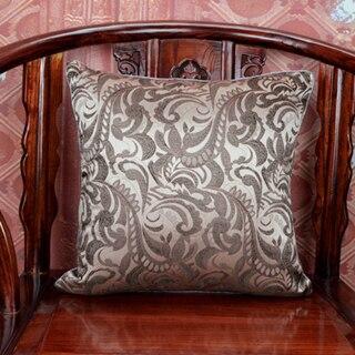 Ручной работы с цветочным принтом китайский стул подушка для дивана в этническом стиле Подушка под поясницу декоративные наволочки шелк атласная наволочка 45x45 см - Цвет: Бежевый