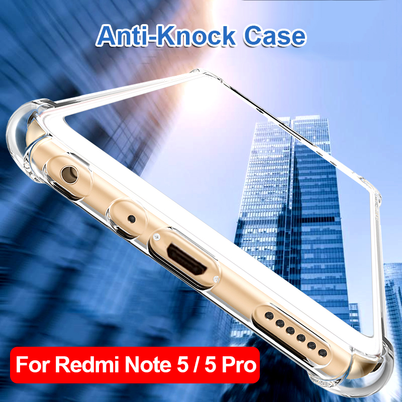 Clear Phone Cases for xiaomi Redmi Note 5 Pro Shockproof Covers Note 5 Global Hybrid Acrylic TPU Bumper Protective Corners Shell