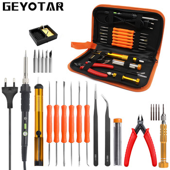 GEYOTAR EU Plug 220V 60W Thermoregulator Electric Soldering Iron Kit Screwdriver tweezers Pliers Desoldering Pump Welding Tools