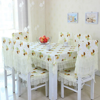Lace table cotton cloth, Korean printed cotton eat desk and chair cover, table cloth chair cushion sets