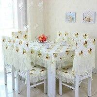 Toalha de mesa renda pano de algodão, coreano algodão estampado comer mesa e tampa da cadeira, conjuntos de pano de mesa cadeira almofada