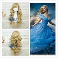 תפקיד לשחק ליל כל הקדושים קוספליי הפאה זהב צבע נסיכת סינדרלה שיער עם רשת שיער גוף גל