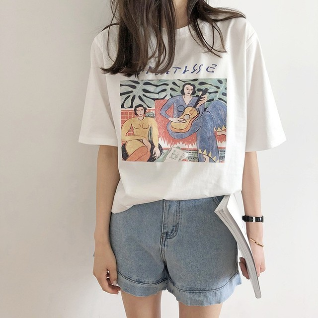 Vintage Print O Neck Short Sleeve Woman Cotton T-shirt Fashion 2019 Casual Loose Girls Summer Cotton Tees Pullovers 1