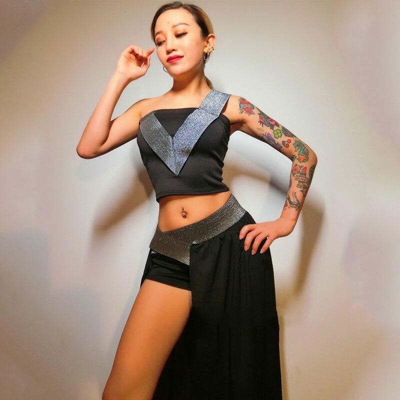 New Jazz Dance Costumes Sexy Nightclub Bar DS DJ Costume  Pole Dance Clothing Trailing Suit Female Singer Rave Clothing DQS1318