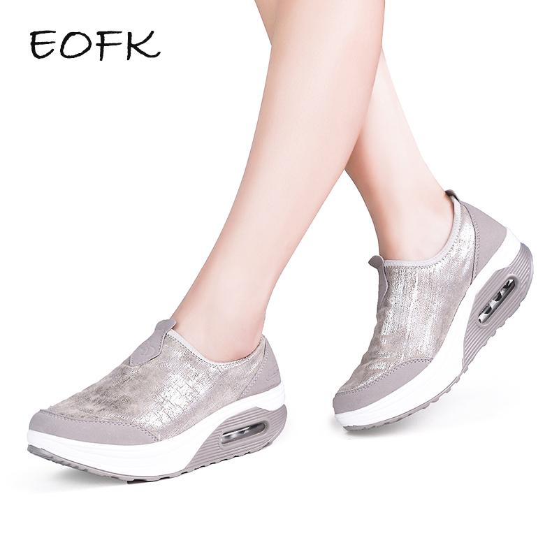 EOFK Women Flat Platform Shoes Woman Moccasin zapatos mujer Women's Platform Slip On For Ladies Shoes Casual Flats Moccasins
