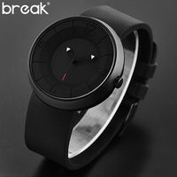 Break Creative Watch Men Brand Luxury Rubber Strap Waterproof Matte Light Sports Wristwatch Clock Men 2016