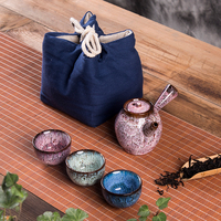 Ceramic cup to crack a pot of two cups of coarse after getting built red glaze, portable travel kung fu tea set