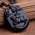 Natural Preto Obsidian Pingente Esculpido Zodíaco Chinês coelho Encantador Pingente de Pérola Colar Amuleto de Sorte Dos Homens das Mulheres de Jóias de Jade