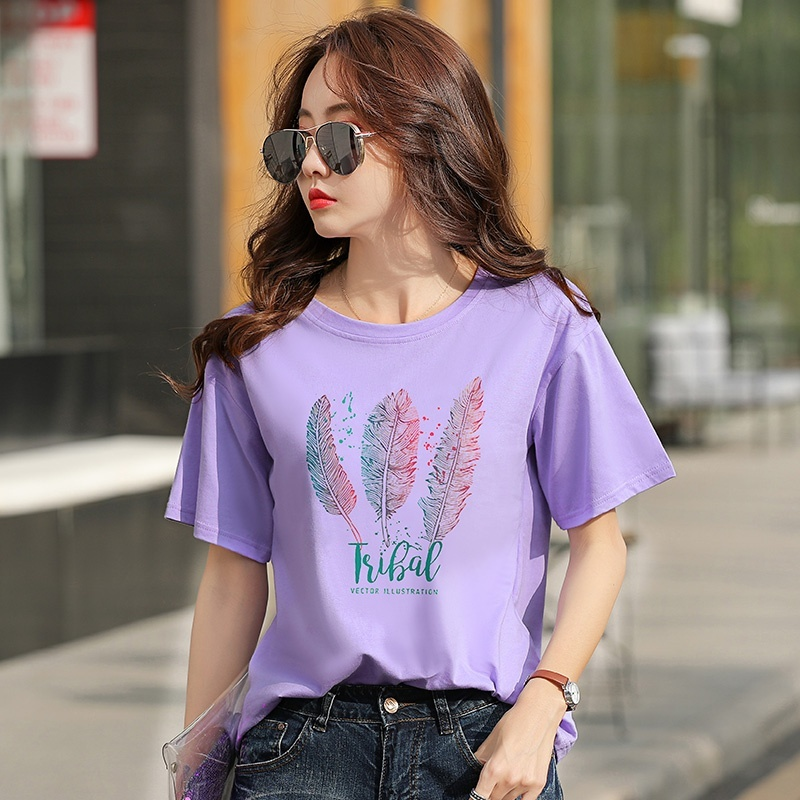 Summer Short Sleeve T Shirt Women 39 s Cotton Printed Round Neck T Shirt Top Korean Clothes Blusas in T Shirts from Women 39 s Clothing