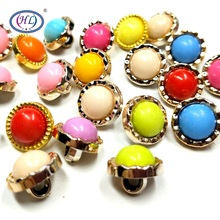 HL 20pcs/50pcs/100pcs package 12mm Mixed Color Shank Plating Plastic Buttons Shirt Sweater Apparel Sewing Accessories