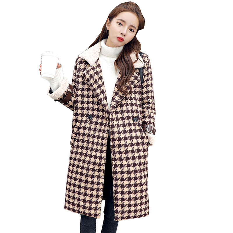 Manteau Long Femme Houndstooth Thicker Winter Wool Coat Women Fashion Plus size woman Coats 2018 Woolen female Jacket Casaco 531 womens winter jackets and coats winter jacket women coat manteau femme thickened long casaco feminino inverno abrigos 001