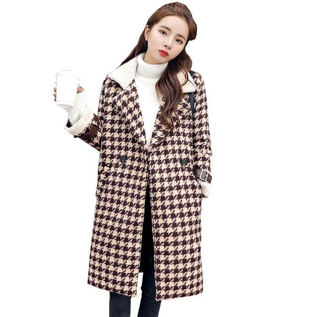 f5a9b49b0a Manteau Long Femme Houndstooth Thicker Winter Wool Coat Women Fashion Plus  size woman Coats 2018 Woolen