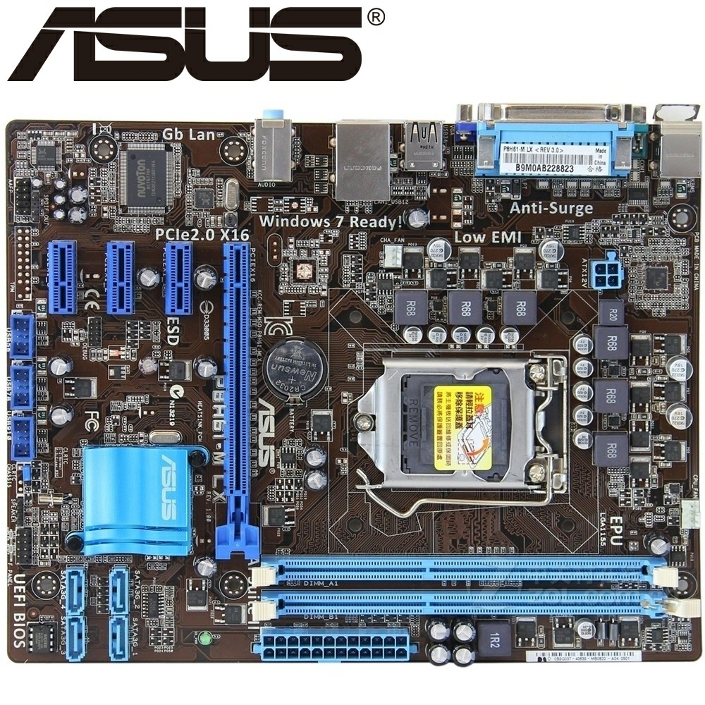 Asus P8H61-M LX Desktop Motherboard H61 Socket LGA 1155 i3 i5 i7 DDR3 16G uATX UEFI BIOS Original Used Mainboard On Sale asus p8b75 m lx desktop motherboard b75 socket lga 1155 i3 i5 i7 ddr3 16g uatx uefi bios original used mainboard on sale