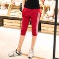 Женщины Спортивные Брюки 2016 Лето Случайные Хлопка Бегунов Шаровары Женские Брюки Боковые Полосы Свободные Капри Pantalones Mujer Femme
